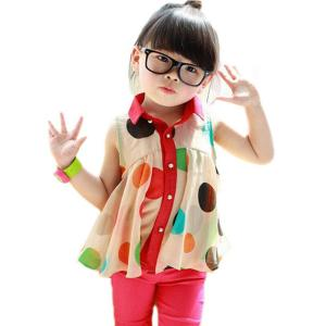 PanDaDa Girls Chiffon Tops Sleeveless T-shirt Colorful Polka Dot Lapel 2-7Y
