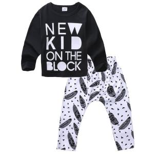 Baby Boys Long Sleeve Letters T-shirt and Feather Pants Outfits