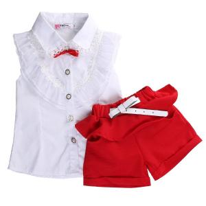 Fancy Baby Girls Princess Lace Floral Tops Shirt+short Pants Outfits Set Twinset