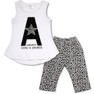 Baby Girls Summer Cotton Letters Tank Top+Leopard Leggings Pants Set Outfit