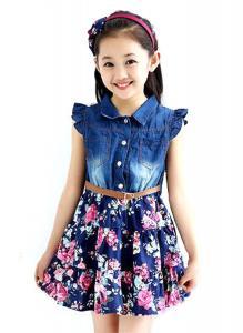 NQ Little Girls Lace Zipper Flower Sleeveless Princess Dress orange 5T