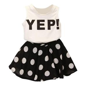 FEITONG Girls Letter Vest Dot Skirt Two Pieces Set Clothes Children Skirt Suit