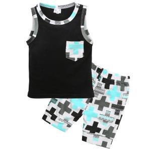 Baby Boy Sleeveless T-shirt and Printed Cotton Shorts Set Toddler Summer Clothes