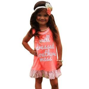 Gotd Little Girls Sleeveless Letters Printed Round Neck Lace Ruffles Dress