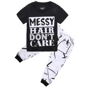 Little Girls Short Sleeve Letters Print T-shirt and Pants Outfits