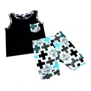 FEITONG® 1Set Newborn Toddler Baby Infant Boys Girls Outfit Vest Tops+Shorts Clothes (Age:12-18M, black)
