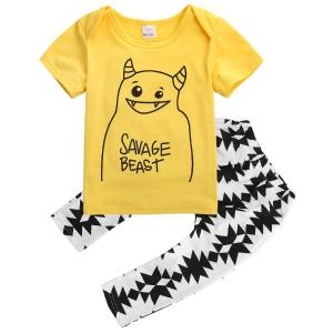 Baby Boys Letters Monster Short Sleeve T-shirt and Graphics Pants Outfit