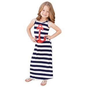 FEITONG Girl Children Summer Stripe Anchors Paillette Sleeveless Dress