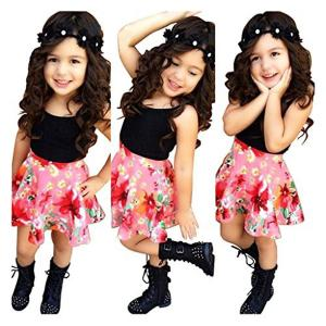 Rorychen Cute Trendy Girl Clothes Set Outfits:Tank Top+Floral Skirt Summer(2-6T)