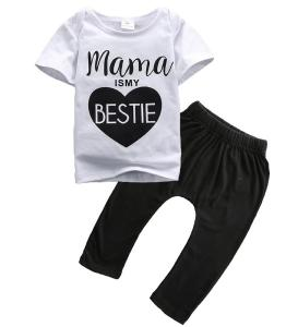 """Baby Boys Girls """"Mama is My Bestie""""T-shirt and Black Pants Outfit"""