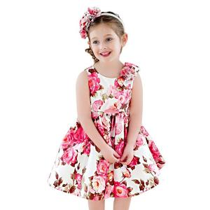 Toddler Girls Summer Dress with Floral Print 2-11T