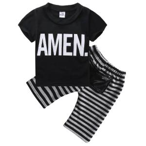 Little Boys Short Sleeve Letters Print T-shirt and Striped Shorts Outfit