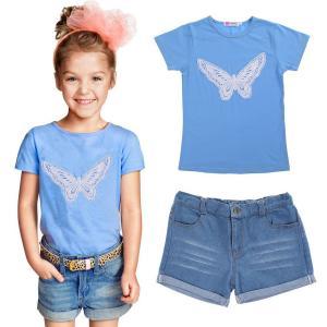 Chinatera 2pc Summer Baby Girl Short Clothes Set:Butterfly Shirt+Denim Pants