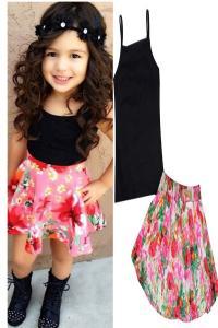 FEITONG 1Set Summer Baby Girls T-shirt + Floral Skirt Set Kids Dress Outfits