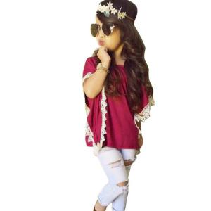 Little Girls Summer Outfits Set Lace T-Shirt and Denim Jeans