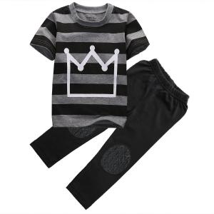 Little Boys Short Sleeve Striped Crown Print T-shirt and Pants Outfit
