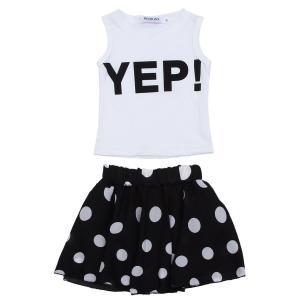 Jastore® Girls Letter YEP Clothing Sets Vest+Short Dot Skirt Kids Clothes