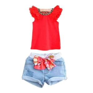 BOBORA Kids Girls Ruffled Sleeves T-shirt+ Bow-knot Jeans Pants Outfits Red