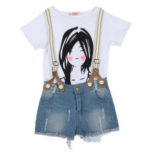 PanDaDa Girls Clothing Sets Ruffled Sleeveless Tops T Shirt Plaid Shorts Vest (Blue)