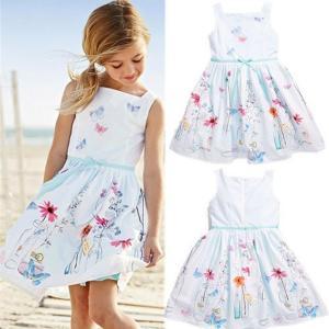 FEITONG 2016 Kids Girls Floral Butterfly Print Princess Dress