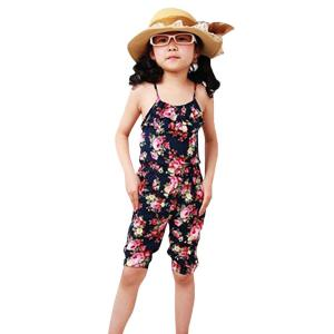 Froomer Baby Girls Floral Romper Jumpsuits Playsuit Overall Spaghetti Straps Top