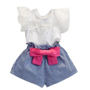 FEITONG Girls Lace T-shirt+Stripe Shorts Set