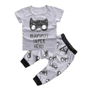1Set Newborn Baby Boys Girls Outfit Printed T-shirt Tops+Pants Clothes (12-24 Months)
