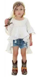 Baby Girls Fashion Princess Spring Summer Clothing Ruffles Dress + denim Short Suit