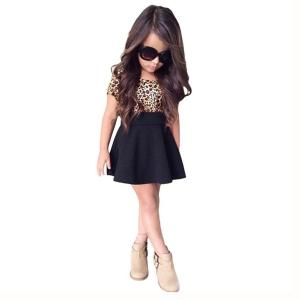 FEITONG Kids Baby Girls Leopard Printing Short Sleeveless Dress