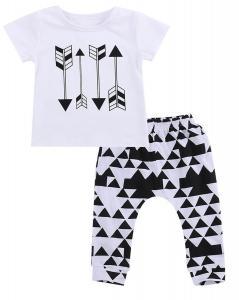 2pcs Baby Boys Summer Cotton Clothes tops t-shirt+Short Harem Pants Suit outfits