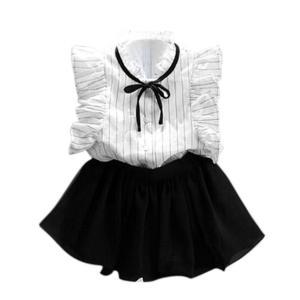 FEITONG Girls Stripe Shirt Chiffon Culottes 2 Pieces Set Clothes Skirt Suit