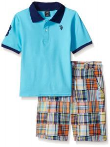 U.S. Polo Assn. Baby Boys' 2 Piece Polo Shirt and Plaid Patchwork Short