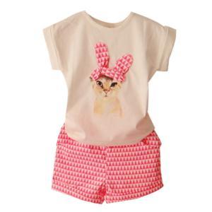PanDaDa Girls Shorts Clothing Sets Short Sleeve T-shirt Kids Cat Print Plaids