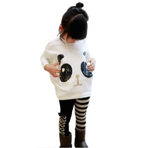 Chinatera 2Pcs Kids Little Girls Cartoon Outfits Panda Coat Top + Striped Pants