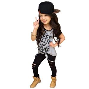 DaySeventh Toddler Girls Outfit Clothes Print T-shirt Tops+Long Pants Trousers 1Set