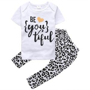 """Baby Girls Short Sleeve Letters """"be you tiful"""" T-shirt and Leopard Pants Outfit"""