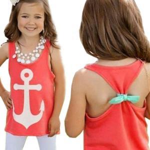 Yoyorule Baby Girl Backless Sleeveless Bowknot Anchor Print Vest Tank Tops