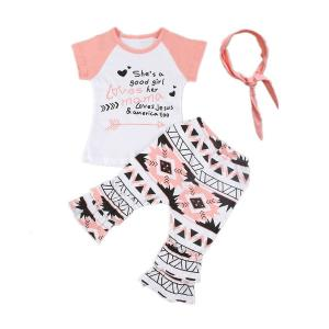 3PCS Baby Girl Kids Colorful Clothes T-shirt Tops+Boho Pants+Headband Outfit Set
