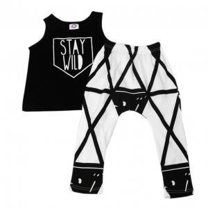 1Set Summer Kids Boys Girls T-shirt+Pants Clothing Geometric Printed Suit (24 Months, black)