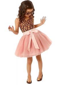 Girls Kids Vintage Lepoard Sleeveless Tulle Skirt Kids Party Dresses