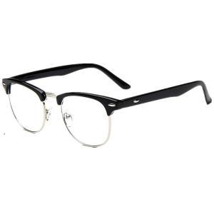 Vintage Inspired Classic Half Frame Wayfarers Clear Lens Glasses