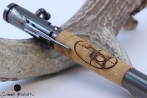 Handmade Schimmel Pen, Bolt Action Bullet Pen. Birdseye Maple with Deer in cross-hairs. Great for the hunter in your family!
