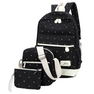 ABage Junior's Canvas Backpack Set Lightweight Patterned 3-Piece Laptop Bookbag