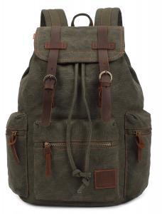 KINGLAKE Vintage Unisex Canvas Leather Backpack Rucksack Satchel Hiking Bag Bookbag