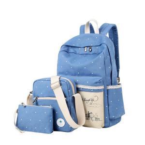 Samaz 3-in-1 Cute Korean Lace Canvas School Backpack for Teen Girls