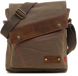 EcoCity Unisex Vintage Small Canvas Shoulder Messenger Bag Crossbody iPad Bags-SHOULDER STRAP REINFORCED (New Inventory)