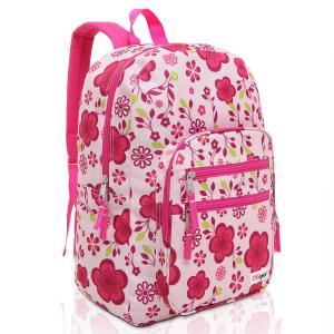MGgear Pink / Purple Spring Flowers Pattern Daypack Backpack / School Bag
