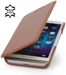 StilGut® Book Type, Genuine Leather Case, Cover for BlackBerry Z30, Cognac Brown