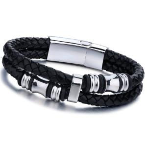 Jstyle Stainless Steel Mens Braided Leather Bracelet Bangle Rope Magnetic-Clasp 7.5-8.5 Inch