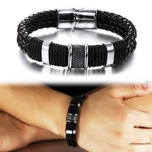 Suyi Wide Braid Black Leather Bracelet Men's Stainless Steel Magnetic Buckle Wristband Bangle